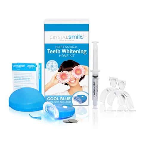 Ein komplettes Zähne-Bleichen-Set für zu Hause mit Ersatz- und Nachfüllteilen, das separat erhältlich ist.