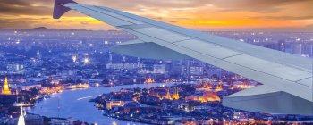 View of Bangkok at dusk from a plane
