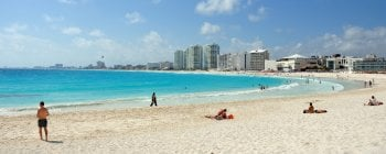 Cancun beach and city view