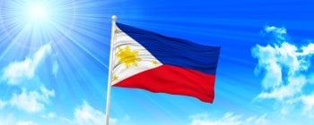 Philippines flag in blue sky