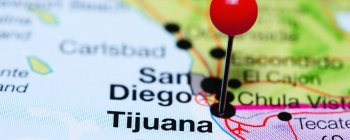 Map with a pin in Tijuana, Mexico