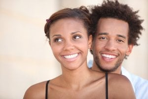 smiling couple with white teeth