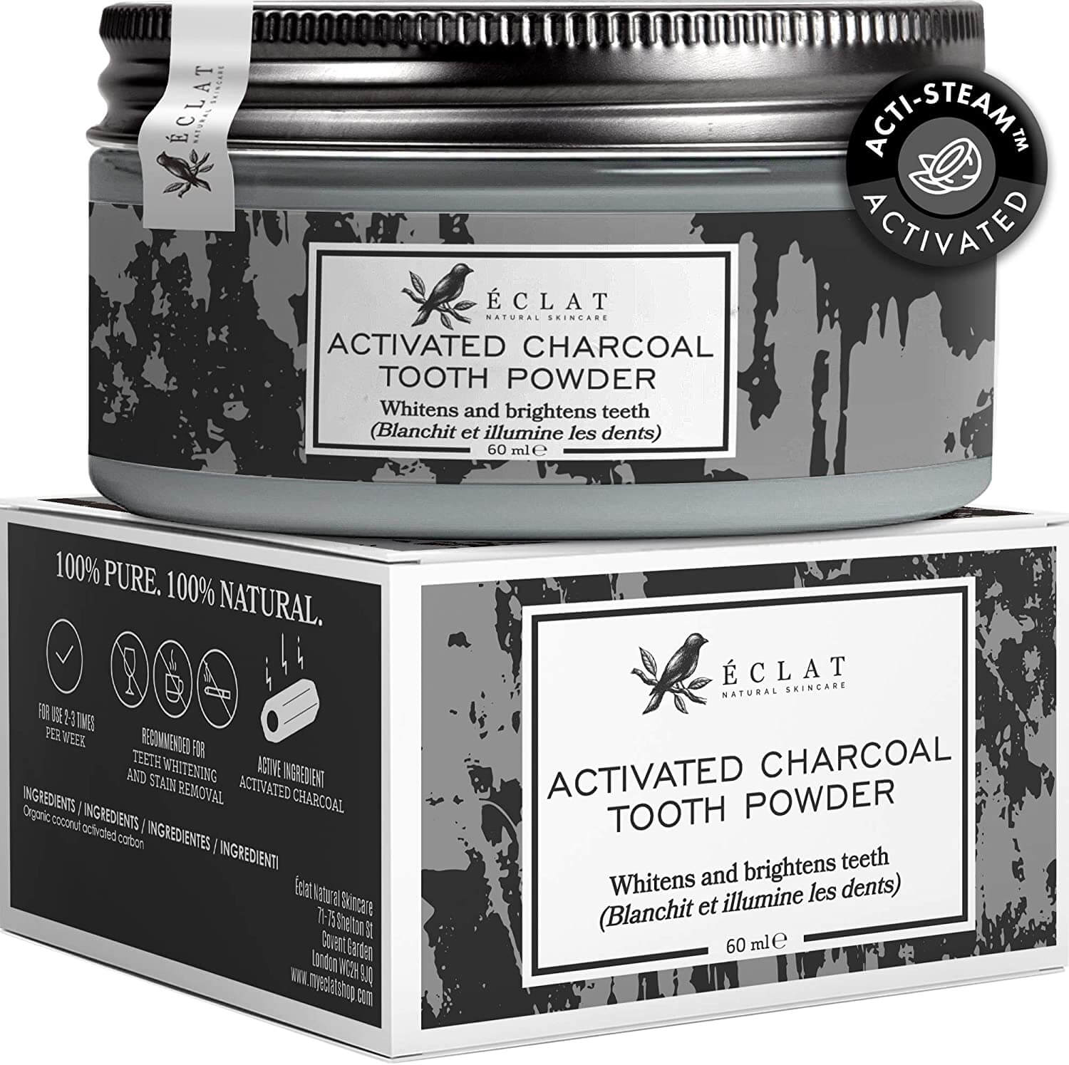 eclat activated charcoal tooth powder