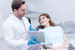 dentist advising patient