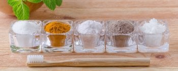 A selection of homemade toothpaste ingredients